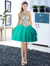 Cute Halter Top Turquoise Tulle Lace Up Prom Dress Sleeveless Mini Length Embroidery and Pick Ups