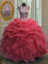 Excellent Scoop Pick Ups Floor Length Ball Gowns Sleeveless Coral Red Sweet 16 Dress Lace Up