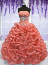 Beautiful Organza Sleeveless Floor Length Ball Gown Prom Dress and Beading