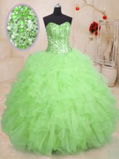 Custom Design Organza Lace Up Ball Gown Prom Dress Sleeveless Floor Length Beading and Ruffles