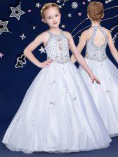 Halter Top White Zipper Flower Girl Dresses for Less Beading Sleeveless Floor Length