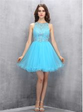 Custom Fit Scoop Sleeveless Organza Prom Gown Beading Zipper