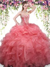 Pretty Coral Red Lace Up Quinceanera Gowns Beading and Ruffles Sleeveless Floor Length