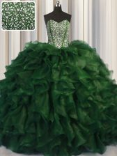 Sexy Visible Boning Bling-bling Sweetheart Sleeveless 15 Quinceanera Dress With Brush Train Beading Green Organza