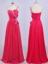 Sophisticated One Shoulder Sleeveless Chiffon Prom Dress Beading and Belt Zipper