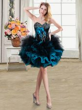Fashionable Blue And Black Prom and Party with Beading and Ruffles and Hand Made Flower Sweetheart Sleeveless Lace Up