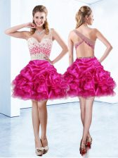 Organza One Shoulder Sleeveless Criss Cross Beading and Ruffles and Pick Ups in Fuchsia
