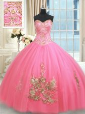 Fitting Rose Pink Ball Gowns Beading and Appliques and Embroidery Quinceanera Gowns Lace Up Tulle Sleeveless Floor Length