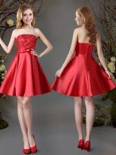 Red Lace Up Strapless Appliques and Bowknot Damas Dress Satin Sleeveless