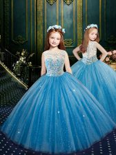 Customized Scoop Blue Sleeveless Tulle Clasp Handle Girls Pageant Dresses for Party and Wedding Party