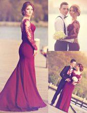 Fabulous Mermaid Burgundy Scoop Neckline Appliques Dress for Prom Long Sleeves Zipper