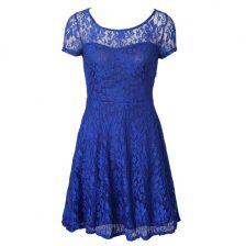 Blue Scoop Neckline Lace Prom Dress Short Sleeves Side Zipper