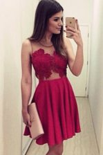 Hot Selling Scoop Sleeveless Satin Knee Length Zipper Prom Dresses in Wine Red with Appliques