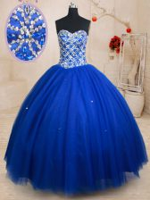 Sleeveless Floor Length Beading Lace Up Quinceanera Dresses with Royal Blue