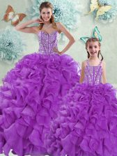 Luxury Sleeveless With Train Beading and Ruffles Lace Up Quinceanera Dresses with Eggplant Purple Brush Train