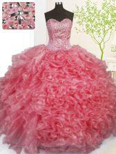 Popular Pick Ups Floor Length Rose Pink Sweet 16 Dresses Sweetheart Sleeveless Lace Up