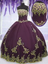 High Class Floor Length Zipper Sweet 16 Dresses Purple for Military Ball and Sweet 16 and Quinceanera with Appliques
