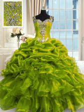 Sophisticated Olive Green Organza Lace Up Straps Sleeveless Floor Length Quinceanera Gowns Beading