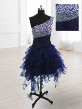 Custom Designed One Shoulder Navy Blue Lace Up Prom Evening Gown Beading Sleeveless Knee Length