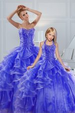 Sleeveless Lace Up Floor Length Beading and Ruffled Layers Quince Ball Gowns