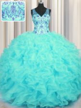 Admirable V Neck Sleeveless Zipper Floor Length Beading and Appliques and Ruffles 15th Birthday Dress