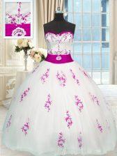 White Sleeveless Appliques and Belt Floor Length Sweet 16 Dresses