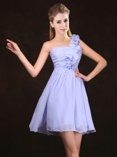Clearance One Shoulder Lavender Sleeveless Mini Length Ruffles and Ruching Zipper Court Dresses for Sweet 16
