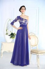 New Style One Shoulder Long Sleeves Chiffon Floor Length Side Zipper Evening Dress in Blue with Beading and Appliques