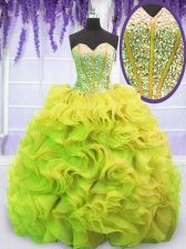 Yellow Green Ball Gowns Sweetheart Sleeveless Organza Sweep Train Lace Up Beading and Ruffles Sweet 16 Dress