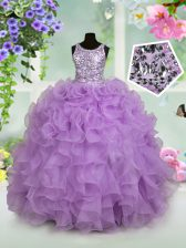 Lavender Zipper Scoop Ruffles and Sequins Little Girl Pageant Gowns Organza Sleeveless