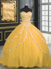 Fashion Sleeveless With Train Beading and Appliques Lace Up Sweet 16 Dresses with Gold Brush Train