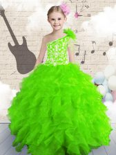 One Shoulder Floor Length Child Pageant Dress Organza Sleeveless Beading and Ruffles