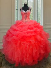 Customized Coral Red Sweet 16 Dress Military Ball and Sweet 16 and Quinceanera with Beading and Ruffles Straps Sleeveless Zipper