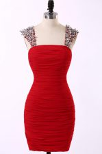 Amazing Red Column/Sheath Taffeta Straps Sleeveless Beading Mini Length Zipper Prom Party Dress