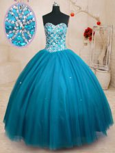 Lovely Teal Lace Up Sweetheart Beading Quinceanera Gowns Tulle Sleeveless