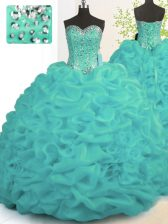 Turquoise Ball Gowns Beading and Ruffles Quinceanera Dresses Lace Up Organza Sleeveless With Train