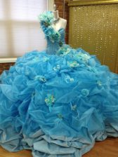 One Shoulder Sleeveless Taffeta and Tulle Quinceanera Gown Pick Ups and Hand Made Flower Lace Up
