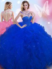 Wonderful Sleeveless Zipper Floor Length Beading Quinceanera Dresses