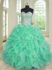 Floor Length Ball Gowns Sleeveless Turquoise Quinceanera Dresses Lace Up
