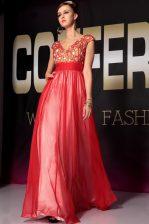 Floor Length Red Homecoming Dress V-neck Short Sleeves Side Zipper