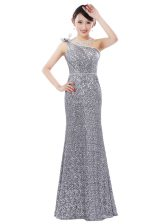 Pretty Sequined One Shoulder Sleeveless Zipper Sequins in Silver