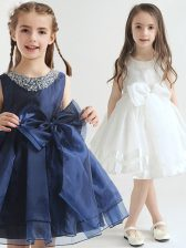Scoop Sleeveless Knee Length Beading and Bowknot Zipper Flower Girl Dresses with White and Navy Blue
