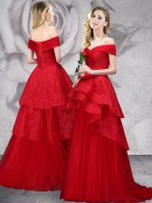Off the Shoulder Red Tulle Lace Up Prom Dress Sleeveless With Brush Train Lace
