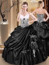 Smart Black Ball Gowns Appliques and Pick Ups Vestidos de Quinceanera Lace Up Taffeta Sleeveless Floor Length