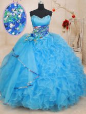 Modern Baby Blue Sleeveless Floor Length Beading and Ruffles and Pattern Lace Up Sweet 16 Dresses