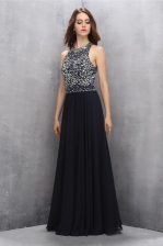 Scoop Black Sleeveless Chiffon Backless Prom Dress for Prom and Party