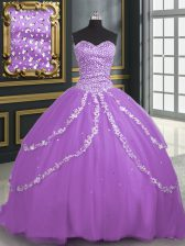 Simple Beading and Appliques Quinceanera Dress Lavender Lace Up Sleeveless With Brush Train