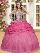 Dazzling Coral Red Ball Gowns Sweetheart Sleeveless Organza Floor Length Lace Up Beading and Pick Ups Quince Ball Gowns