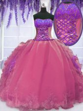 Excellent Sleeveless Embroidery and Ruffles Lace Up 15 Quinceanera Dress