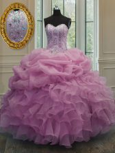 Customized Sweetheart Sleeveless Organza Quinceanera Gown Beading and Pick Ups Lace Up